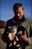 Peter and puppies, Daneborg July 1989